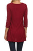 3/4 Sleeve Tunic Top W/ Asymmetric Button Trim - BodiLove | 30% Off First Order  - 56