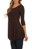 3/4 Sleeve Tunic Top W/ Asymmetric Button Trim - BodiLove | 30% Off First Order  - 61