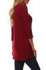 3/4 Sleeve Tunic Top W/ Asymmetric Button Trim - BodiLove | 30% Off First Order  - 57