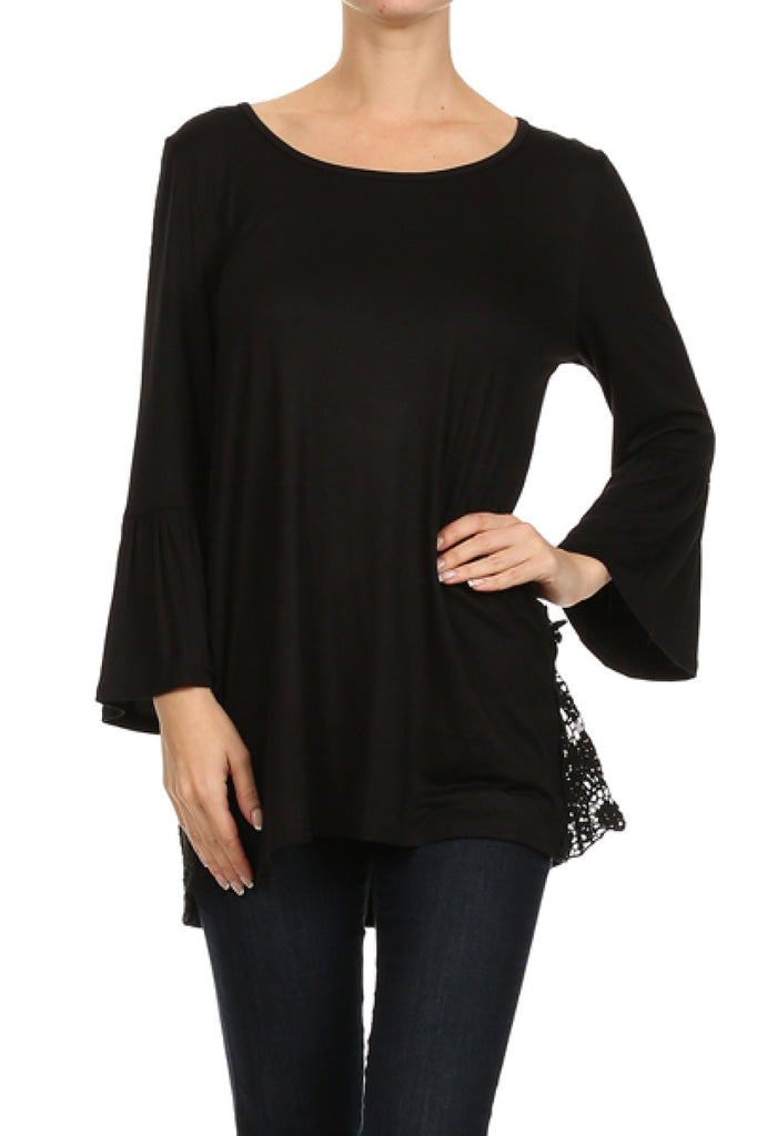 3/4 Sleeve Tunic Top W/ Crochet Lace Trim - BodiLove | 30% Off First Order - 1