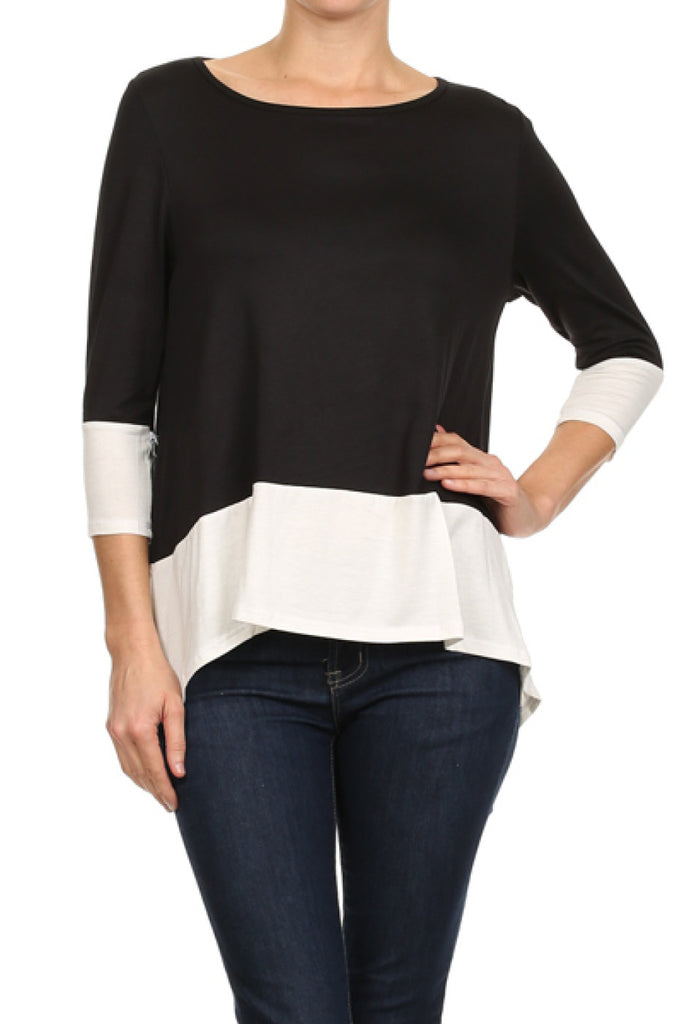 3/4 Sleeve Hi-Low Tunic Top W/ Contrast Trim - BodiLove | 30% Off First Order  - 1