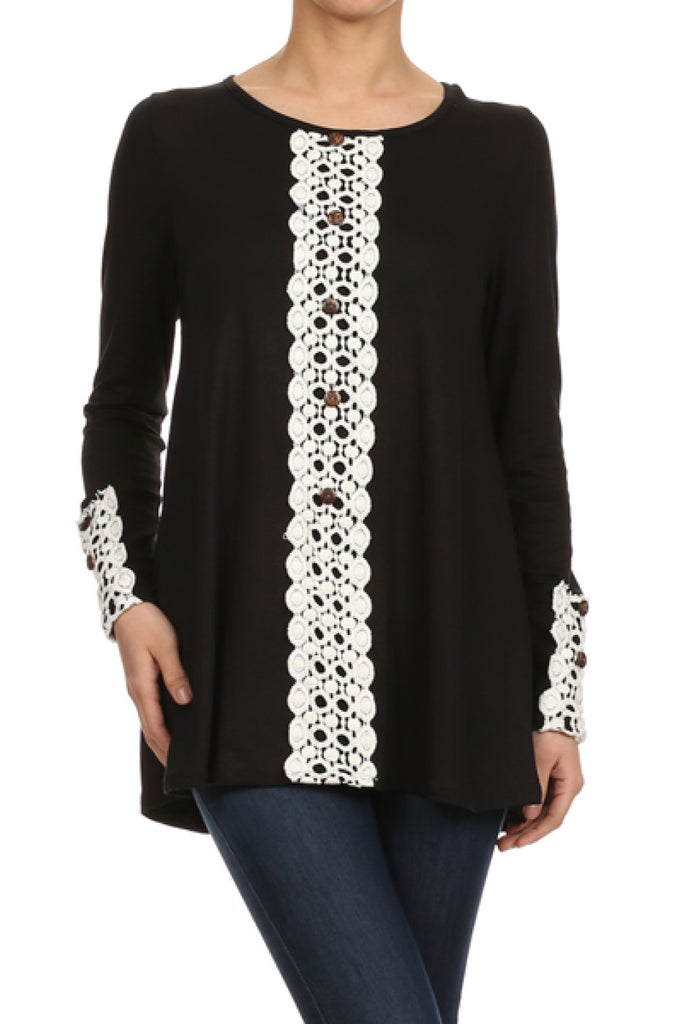 Long Sleeve Tunic Top W/ Crochet Lace Trim - BodiLove | 30% Off First Order  - 1
