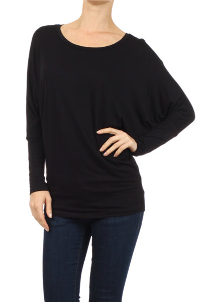 Long Dolman Sleeve Jersey Knit Tunic Top - BodiLove | 30% Off First Order  - 1