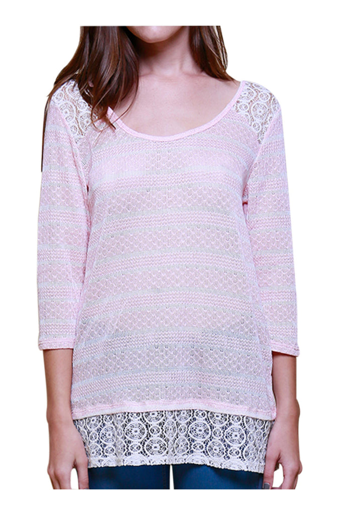 Trendy Knit Top W/ Sheer Crochet Lace Trim - BodiLove | 30% Off First Order - 1