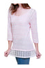 Trendy Knit Top W/ Sheer Crochet Lace Trim - BodiLove | 30% Off First Order - 3
