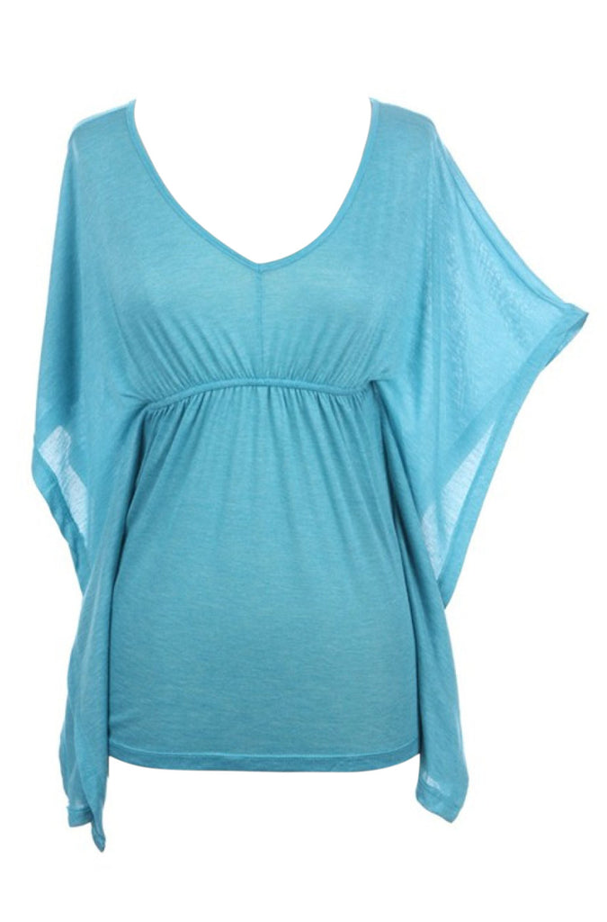 V-Neck Flyaway Kimono Sleeve Top | 30% Off First Order | Aqua
