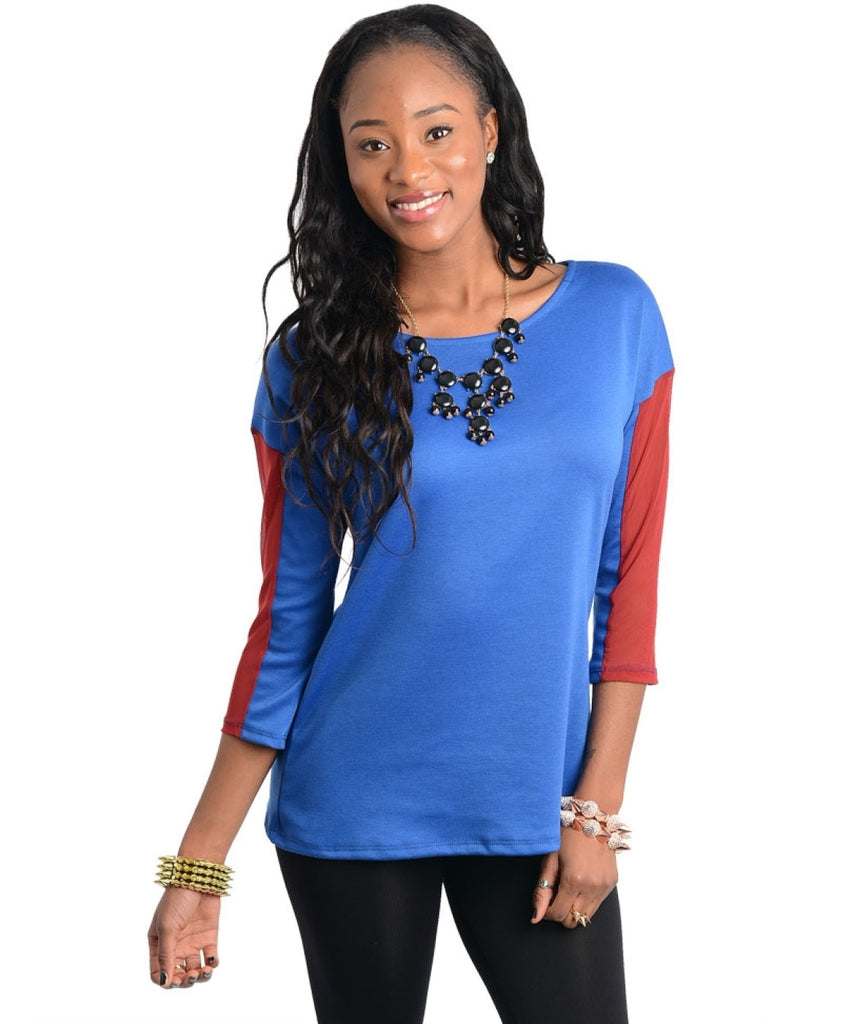 Two Tone Quarter Sleeve Top - BodiLove | 30% Off First Order  - 3