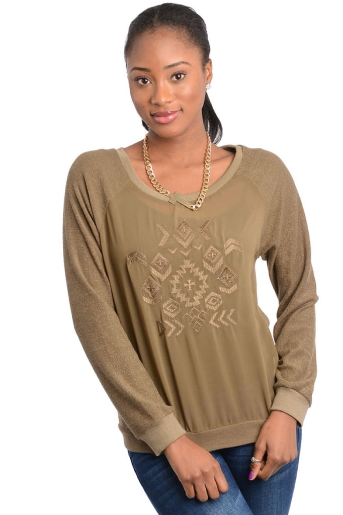 Aztec Embroidered Long Sleeve Top - BodiLove | 30% Off First Order  - 3
