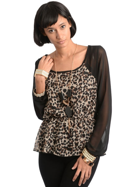 Animal Print Sheer Sleeve Top - BodiLove | 30% Off First Order  - 1