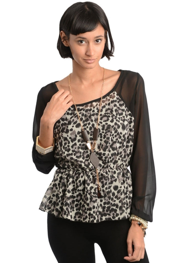 Animal Print Sheer Sleeve Top - BodiLove | 30% Off First Order  - 3