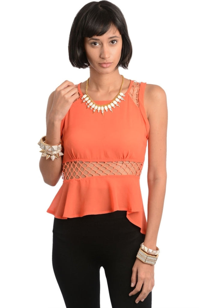 Mesh Hi-Low Peplum Top - BodiLove | 30% Off First Order  - 3