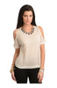 Striped Embellished Cutout Shoulder Top - BodiLove | 30% Off First Order  - 1