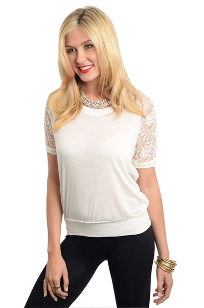 Floral Lace Shoulder Sweater Top | 30% Off First Order | Ivory