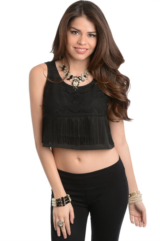 Loose Fit Eyelash Lace Crop Top - BodiLove | 30% Off First Order  - 1