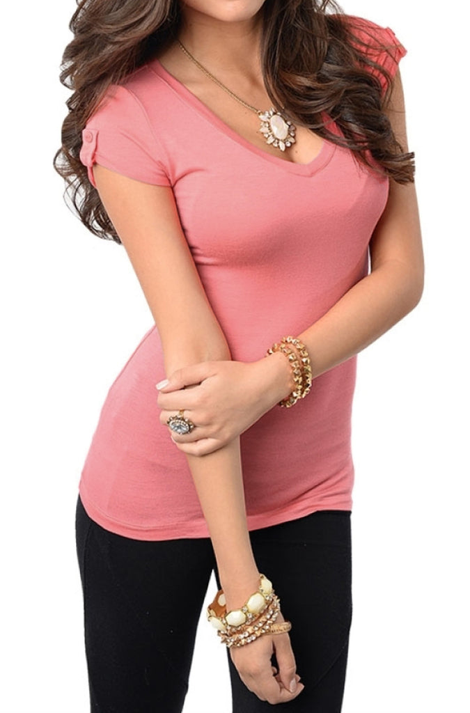Placket Sleeve Tee | 30% Off First Order | Pink