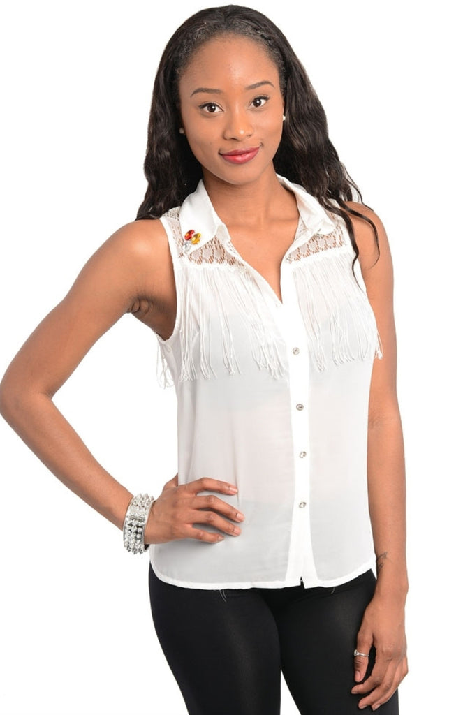 Fringe Jewel Collar Lace Chiffon Top - BodiLove | 30% Off First Order  - 1