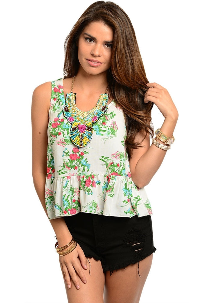 Sleeveess Floral Print Peplum Top - BodiLove | 30% Off First Order  - 3