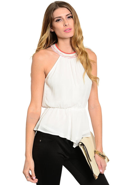 Embellished Neckline Shirred Waist Halter Top - BodiLove | 30% Off First Order  - 1
