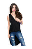 Sleeveless Draped Front Hi-Low Tank Top | 30% Off First Order | Black1