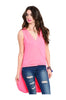 Sleeveless Draped Front Hi-Low Tank Top | 30% Off First Order | Hot Pink