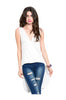 Sleeveless Draped Front Hi-Low Tank Top | 30% Off First Order | White