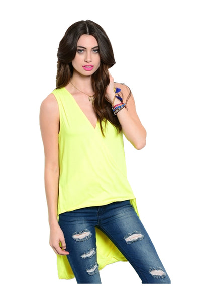 Sleeveless Draped Front Hi-Low Tank Top | 30% Off First Order | Bright Yellow