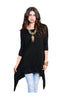 3/4 Sleeve Tunic Top W/ Trapeze Shark Bite Hem - BodiLove | 30% Off First Order  - 5