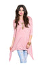 3/4 Sleeve Tunic Top W/ Trapeze Shark Bite Hem - BodiLove | 30% Off First Order  - 7