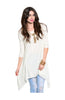 3/4 Sleeve Tunic Top W/ Trapeze Shark Bite Hem - BodiLove | 30% Off First Order  - 9