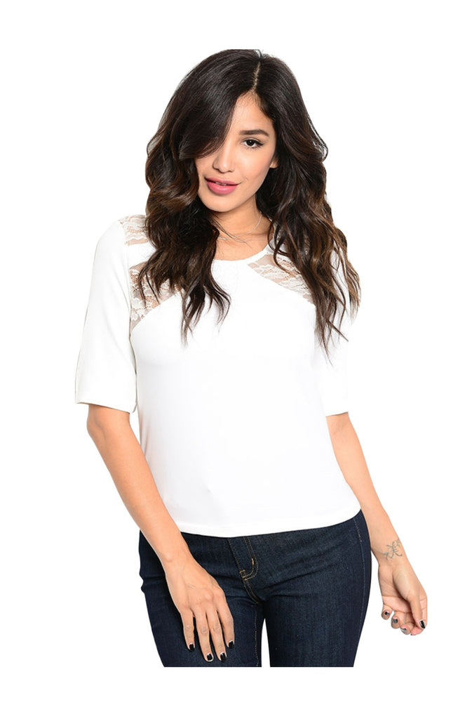 Dressy Half Sleeve Top W/ Sheer Lace Panels - BodiLove | 30% Off First Order  - 5