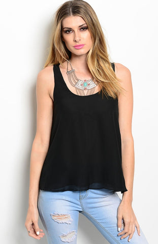 Sleeveless Chiffon Tank Top W/ Strappy Back Detail