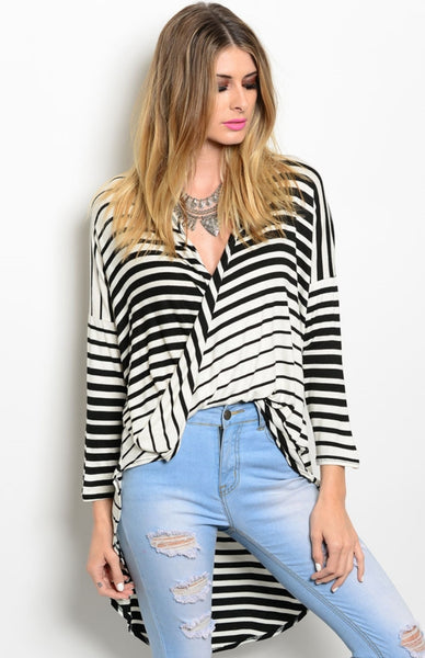 3/4 Sleeve Draped Front Hi-Low Top - BodiLove | 30% Off First Order  - 1