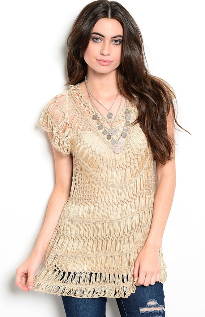 Crochet Knit Tunic Beach Coverup - BodiLove | 30% Off First Order  - 1