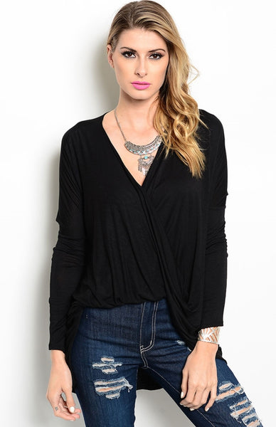 Long Sleeve Draped Front Hi-Low Top - BodiLove | 30% Off First Order  - 1