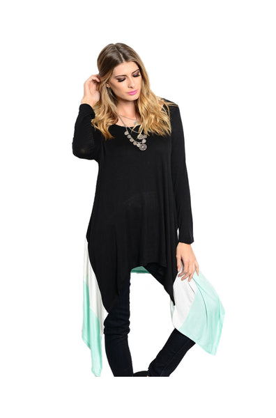 3/4 Sleeve Tunic Top With Asymmetric Hem - BodiLove | 30% Off First Order  - 1