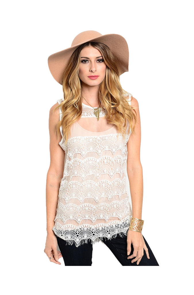 Sleeveless Sheer Crochet Lace Boho Top | 30% Off First Order | Ivory-Lace