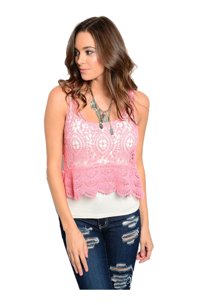 Sleeveless Crochet Lace Crop Top - BodiLove | 30% Off First Order  - 5
