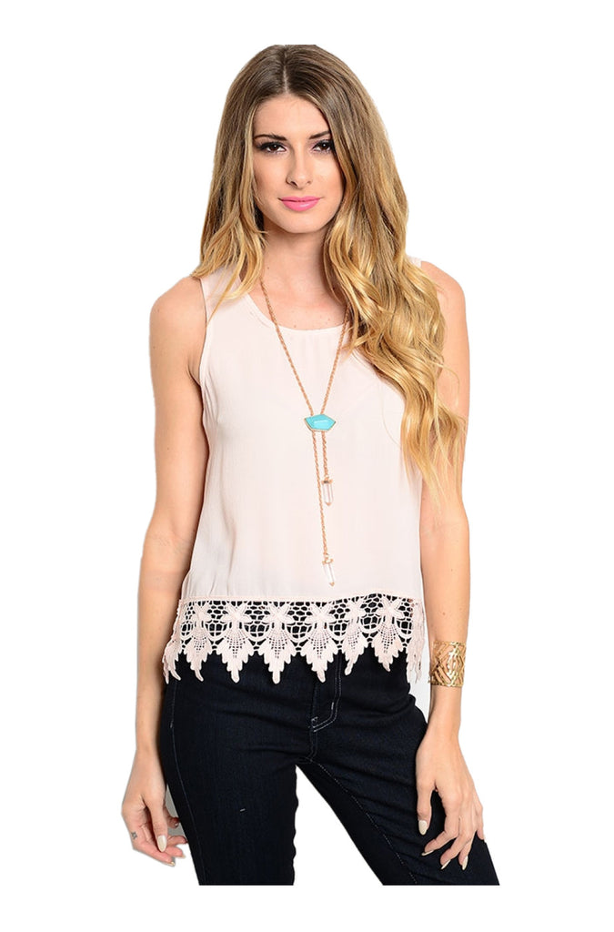 Sleeveless Chiffon Top W/ Crochet Lace Trim - BodiLove | 30% Off First Order  - 5