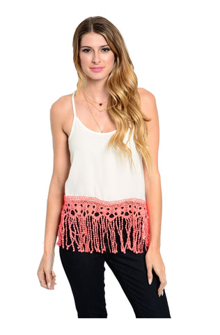 Sleeveless Crop Top W/ Crochet Fringe Trim