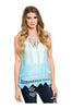 Sleeveless Sheer Crochet Lace Boho Top | 30% Off First Order | Blue