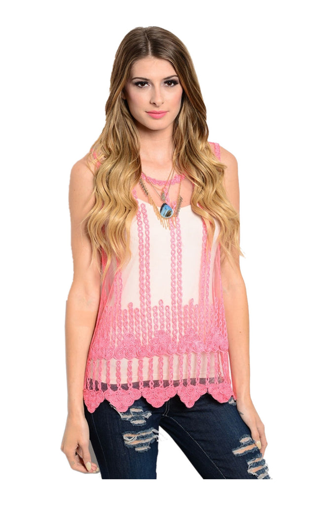 Sleeveless Sheer Crochet Lace Boho Top | 30% Off First Order | Coral Pink