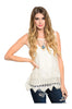 Sleeveless Sheer Crochet Lace Boho Top | 30% Off First Order | Ivory1