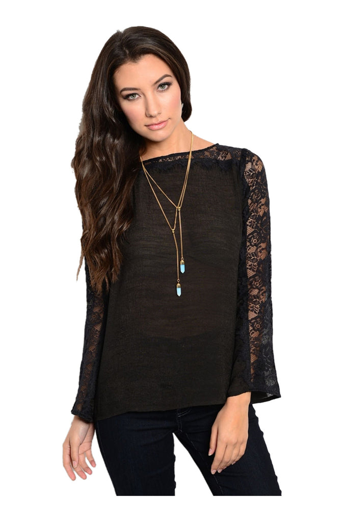 Long Sleeve Blouse W/ Lace Trim & Open Back - BodiLove | 30% Off First Order  - 1