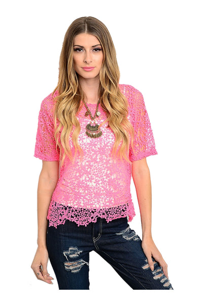 Short Sleeve Crochet Lace Crop Top - BodiLove | 30% Off First Order  - 1