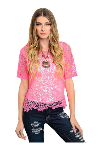 Short Sleeve Crochet Lace Crop Top