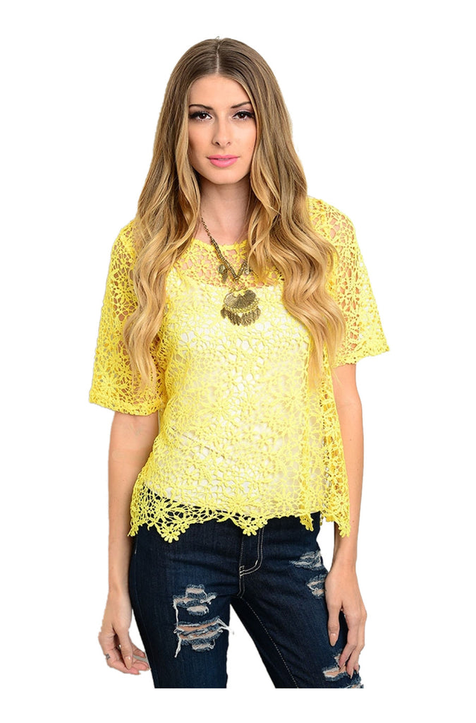 Short Sleeve Crochet Lace Crop Top - BodiLove | 30% Off First Order  - 7