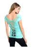 Ruched Cap Sleeve Top W/ Crochet Lace Back - BodiLove | 30% Off First Order  - 2