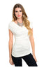 Ruched Cap Sleeve Top W/ Crochet Lace Back - BodiLove | 30% Off First Order  - 5