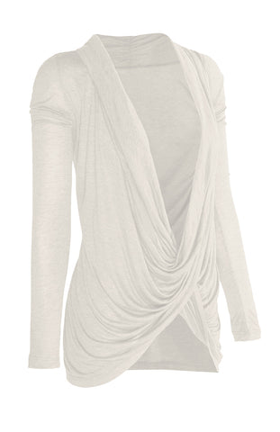 Long Sleeve Criss Cross Drape Front Top