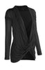 Long Sleeve Criss Cross Drape Front Top - BodiLove | 30% Off First Order  - 4